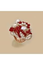 Anello agata ruby perle di fiume