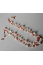 Collana a due fili conchiglia e corallo rosa, perle di fiume