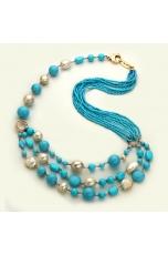 Collana a tre fili pasta turchese 4 fiori, perle coltivate acqua dolce