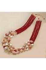Collana agata ruby, opale rosa, perle di fiume