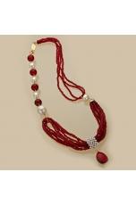 Collana agata ruby, perle di fiume