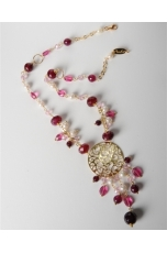 Collana agata ruby, q.idroterm.rosa, perle di fiume
