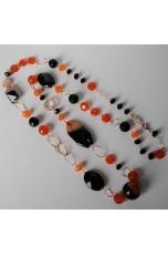 Collana agata striata arancione, agata nera