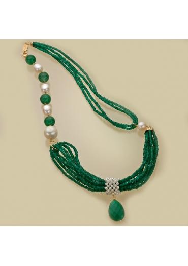 Conosciuto Collana agata verde smeraldo, perle di fiume IZ11