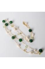 Collana Agata verde,perle barocche, tagli macchina