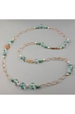 Collana amazzonite, ossidiana, perle di fiume
