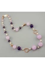 Collana ametista, giada lavanda,perle di fiume