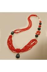 Collana corallo bamboo rosso e agata nera