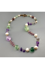 Collana Fluorite, ametista, perle
